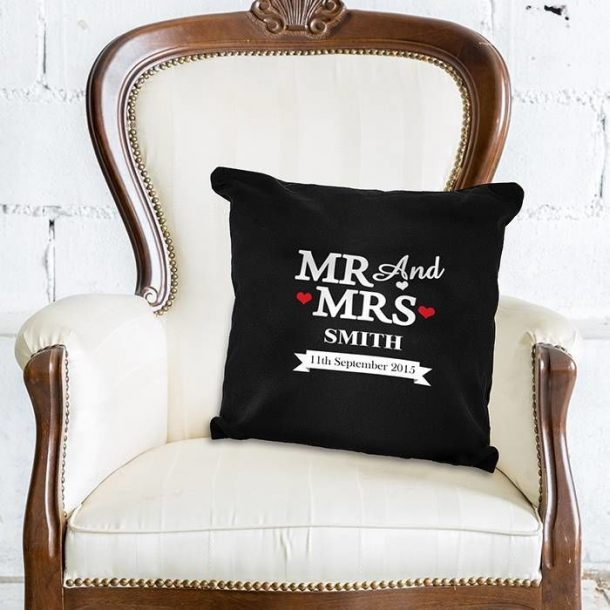 Personalised Mr & Mrs Cushion Cover