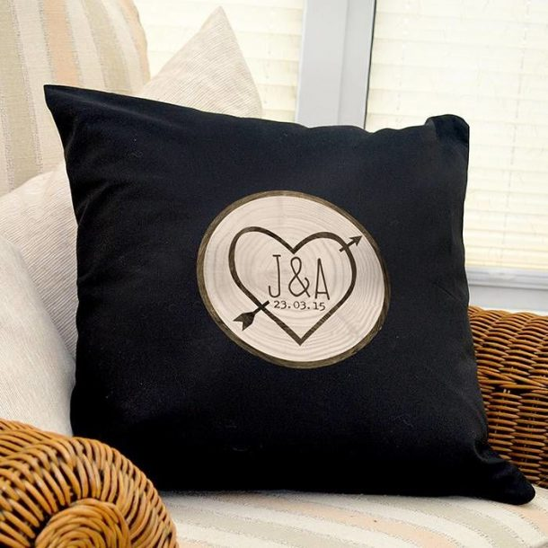 Wood Carving Black Cushion Cover