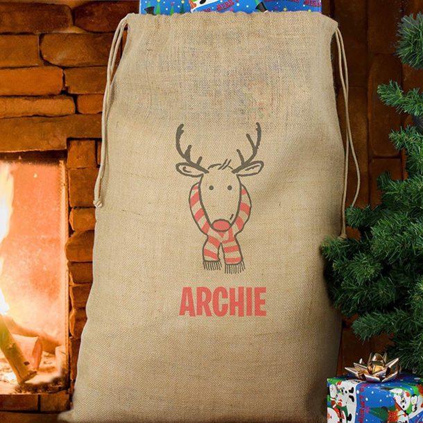 Personalised Retro Reindeer Hessian Sack
