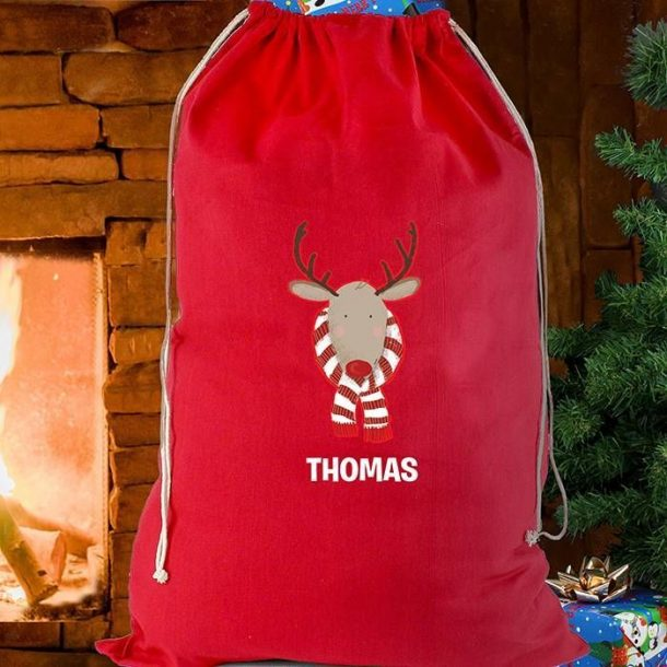 Personalised Retro Reindeer Cotton Sack