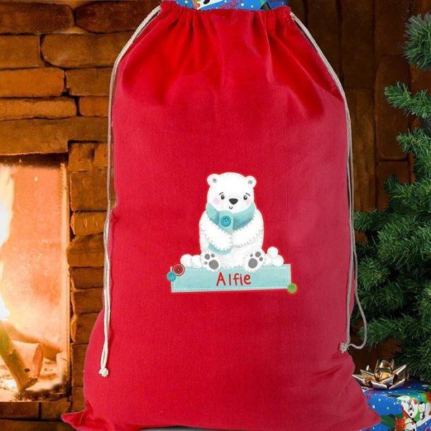 Personalised Polar Bear Christmas Sack