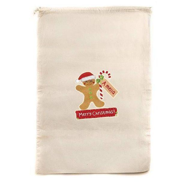 Personalised Gingerbread Man Christmas Sack