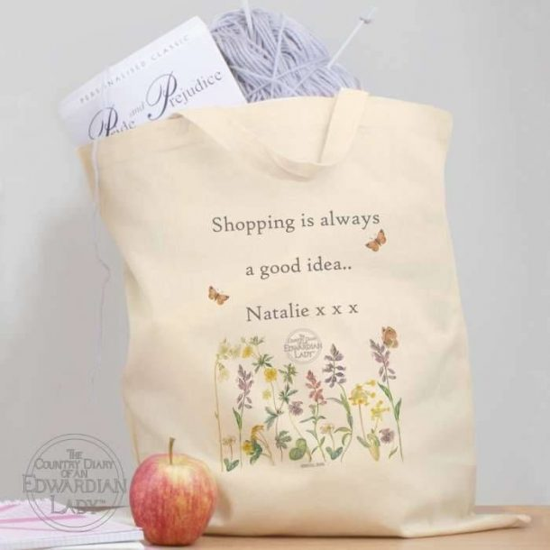 Personalised Flowers Cotton Bag