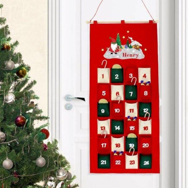 Personalised Tartan Santa Felt Advent Calendar