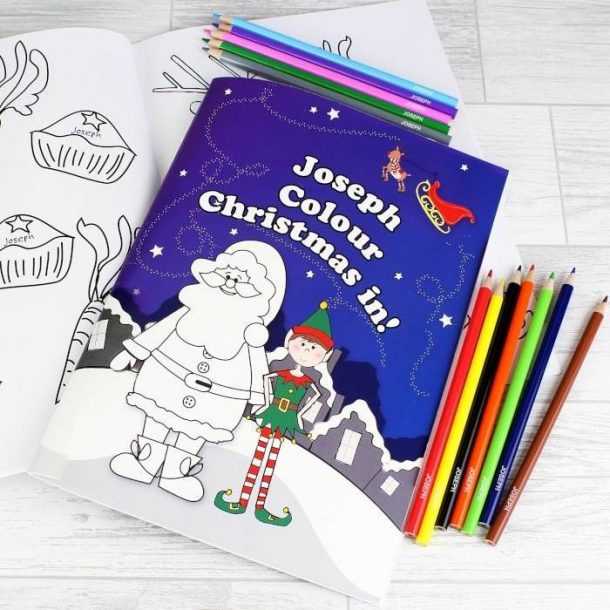 Personalised Elf Colouring Book & Pencil Crayons