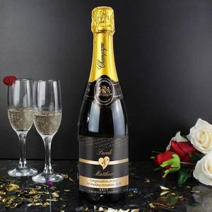 Personalised Couple Hearts Champagne