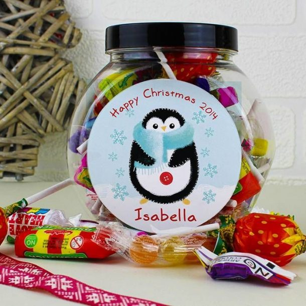 Personalised Penguin Sweet Jar