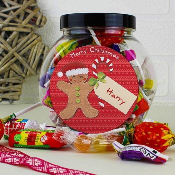 Personalised Gingerbread Man Sweet Jar