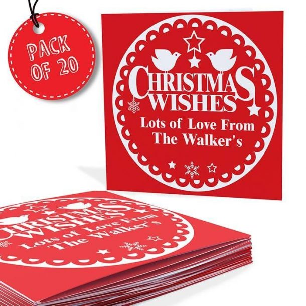 Personalised Pack of 20 Christmas Wishes Cards