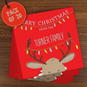 Personalised Pack of 20 Retro Reindeer Cards