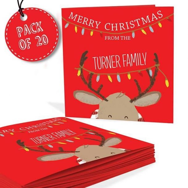 Personalised Pack of 20 Retro Reindeer Cards