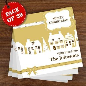 Personalised Pack of 20 Festive Village Cards