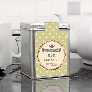 Personalised Its Tea O Clock Tea & Tin
