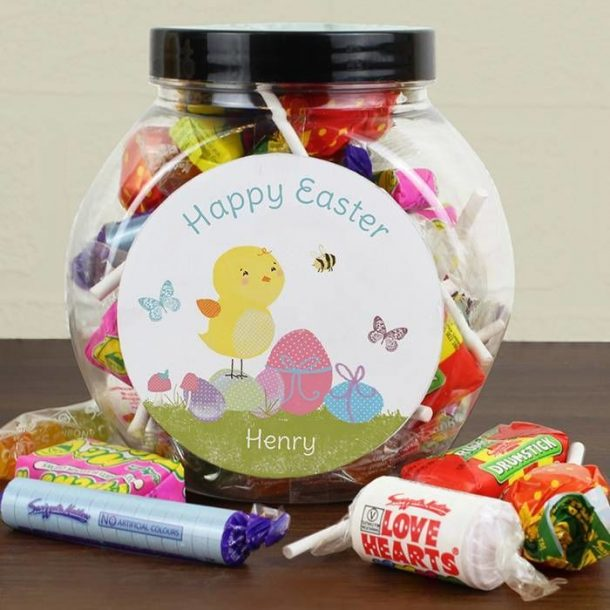 Personalised Easter Chick Sweets Jar