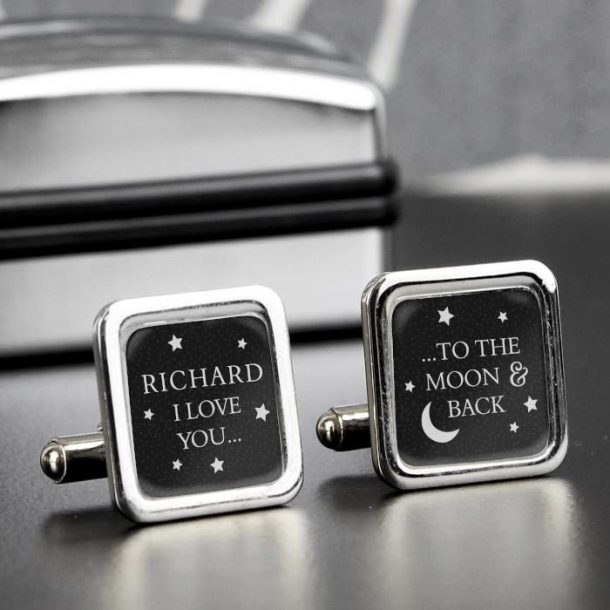 Personalised Moon & Back Cufflinks
