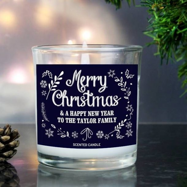 Personalised Christmas Frost Scented Candle