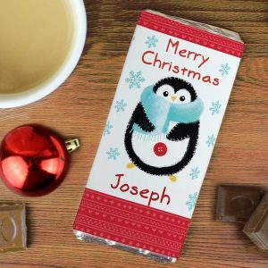 Personalised Felt Stitch Penguin Chocolate Bar