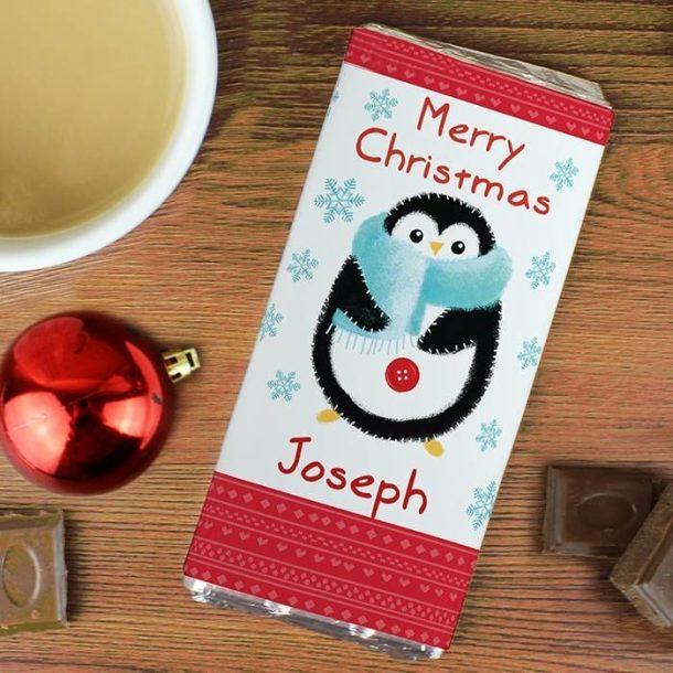 Personalised Felt Stitch Penguin Chocolate Bar