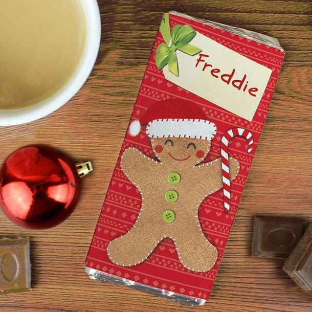 Personalised Felt Stitch Gingerbread Man Chocolate Bar