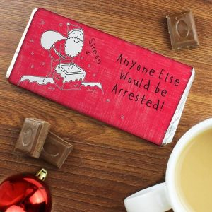 Personalised Purple Ronnie Male Christmas Chocolate Bar