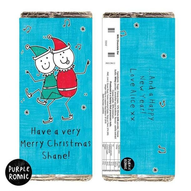 Personalised Purple Ronnie Christmas Elves Chocolate Bar