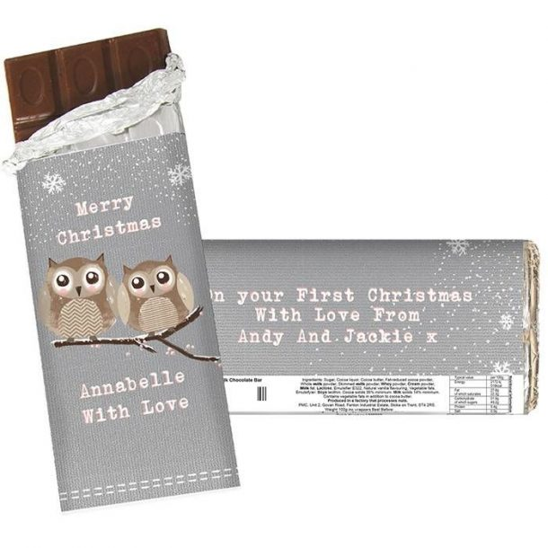 Personalised Owl Christmas Chocolate Bar