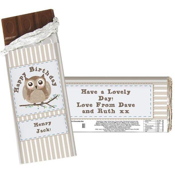 Personalised Woodland Owl Chocolate Bar