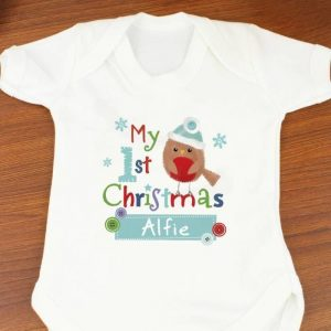 Personalised 'My 1st Baby Christmas' Baby Vest