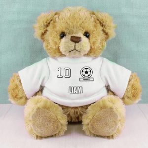White Football Fan T-Shirt Message Bear