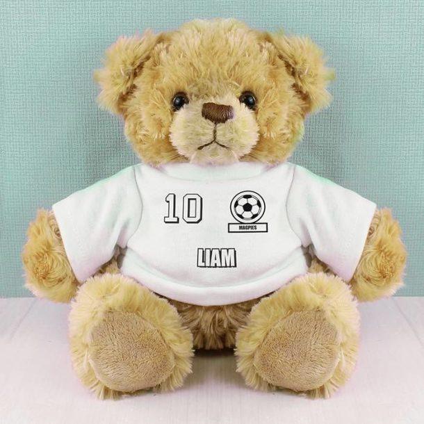White Football Fan T-Shirt Message Bear