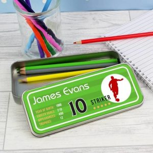 Personalised Team Player Tin with Pencil Crayons