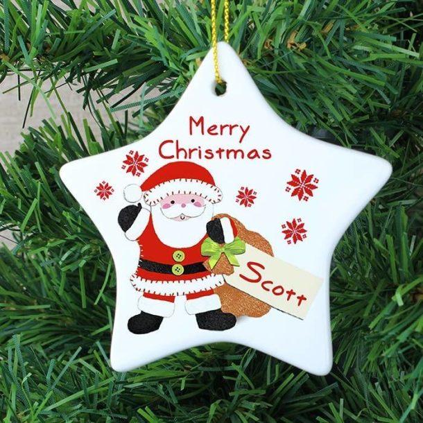 Personalised Felt Stitch Santa Ceramic Star Decoration