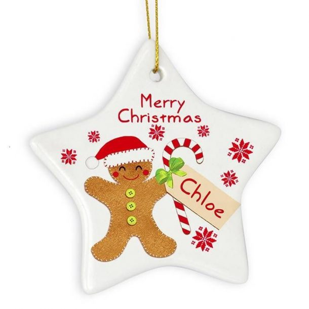Personalised Felt Stitch Gingerbread Man Ceramic Star Decoration