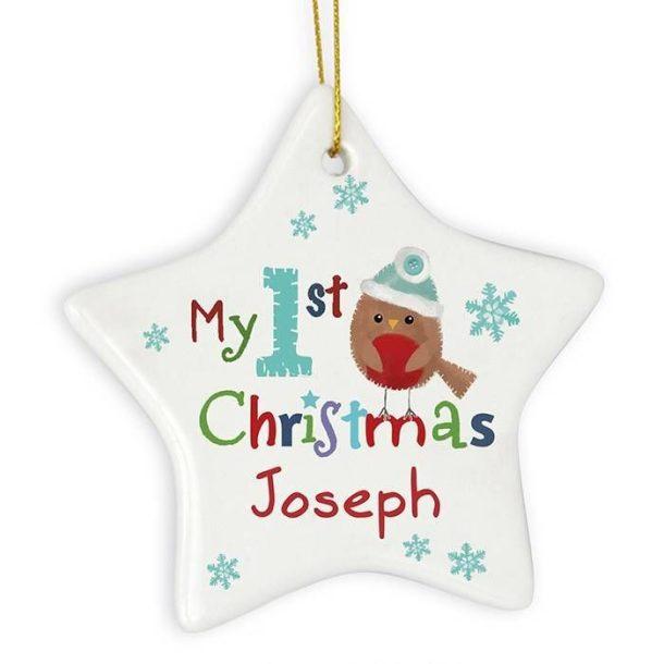 Personalised Felt Stitch Robin My 1st Christmas Ceramic Star Decoration