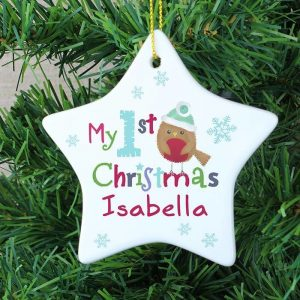 Personalised Felt Stitch Robin My 1st Christmas Ceramic Star Decoration