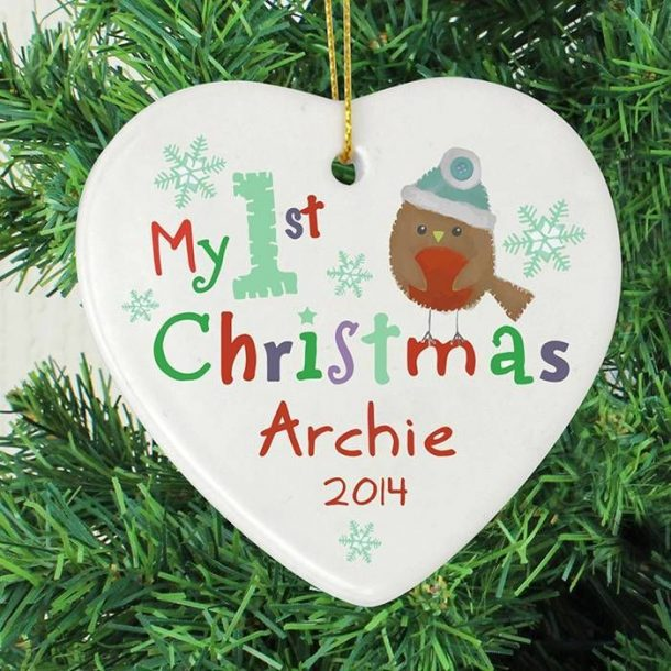 Personalised My 1st Christmas Ceramic Heart