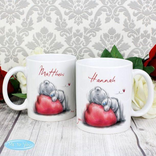 Personalised Me To You Heart Mug Set