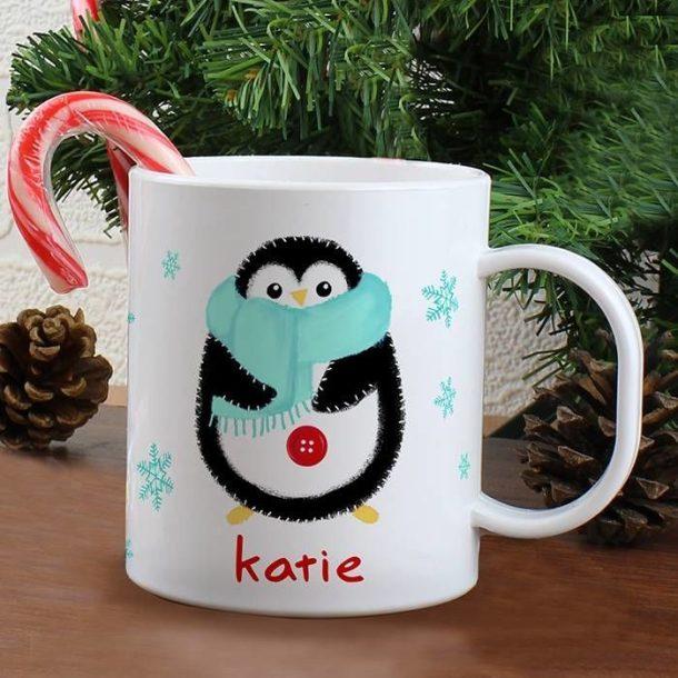 Personalised Penguin Plastic Mug