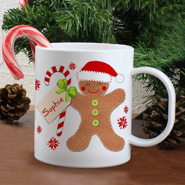 Personalised Gingerbread Man Plastic Mug