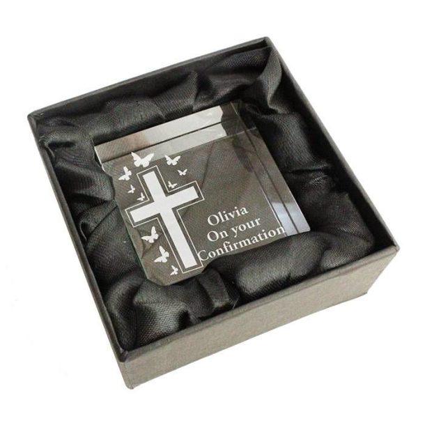 Personalised Cross & Butterfly Medium Crystal Token
