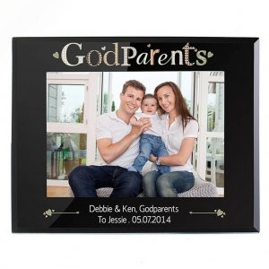 Personalised Godparents Black Glass 5x7 Frame