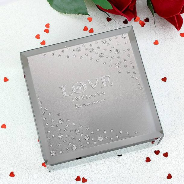 Personalised LOVE Diamante Glass Trinket