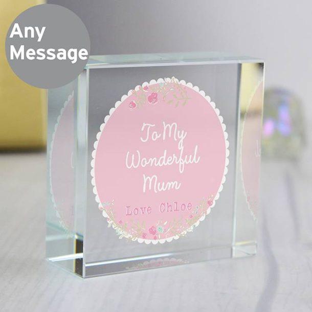 Personalised Floral Medium Crystal Token