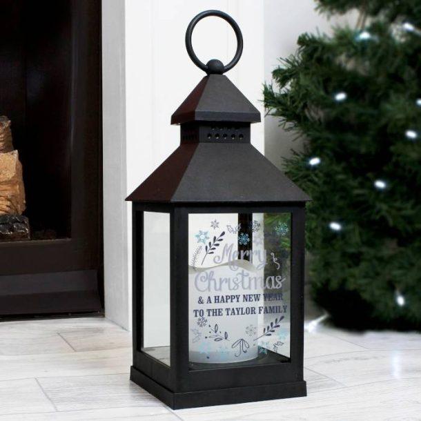 Personalised Christmas Frost Black Lantern