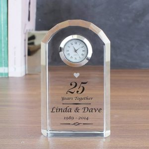 Personalised Silver Anniversary Clock