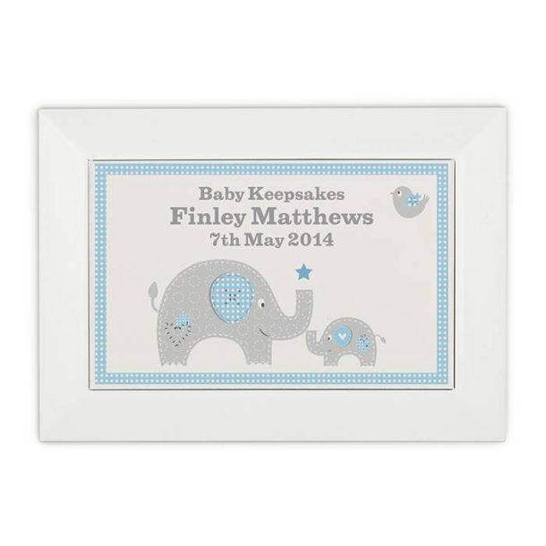 Personalised Blue Baby Elephant Keepsake Box
