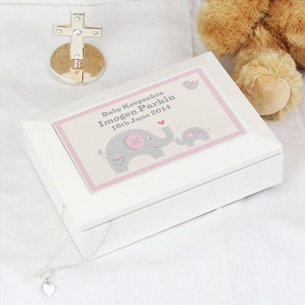 Personalised Pink Baby Elephant Keepsake Box