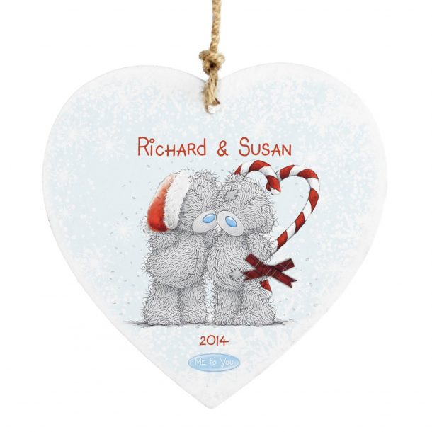 Personalised Me To You Couple Christmas Wooden Heart Decoration