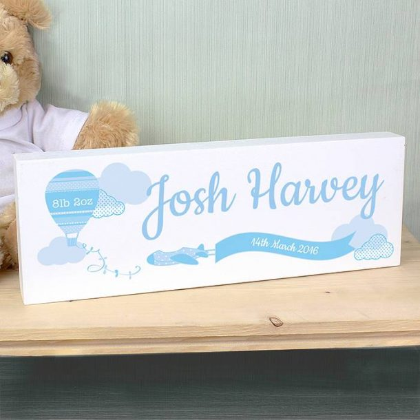 Personalised Baby Boy Mantel Block