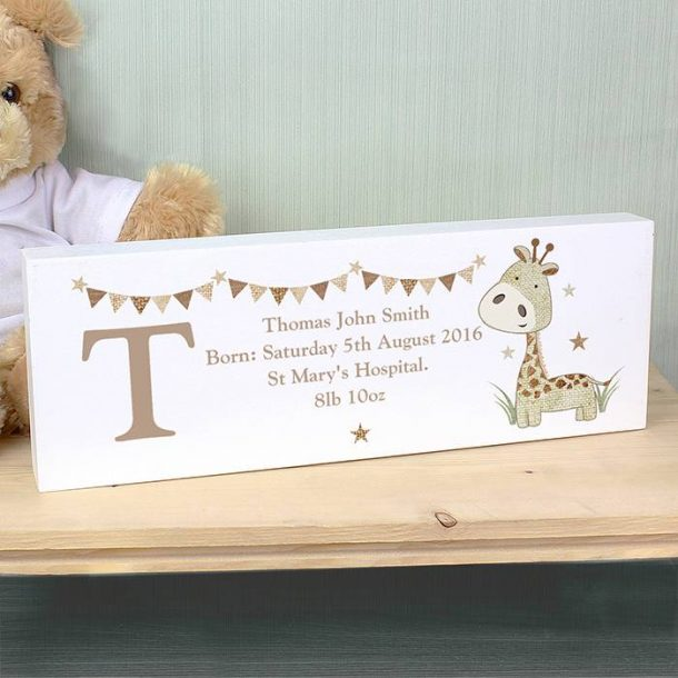Personalised Giraffe Mantel Block
